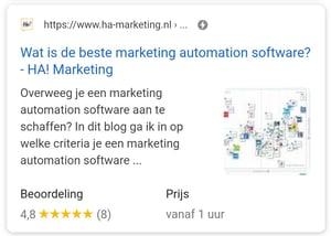 Deze mobiele rich snippet van HA! Marketing toont een afbeelding in Google zoekresultaten